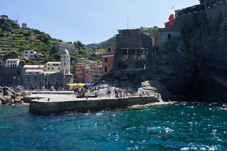 Vernazza, Cinque Terre, Italy - 26 June 2018: The cove on the Italian Riviera of Vernazza, Cinque Terre, Italy