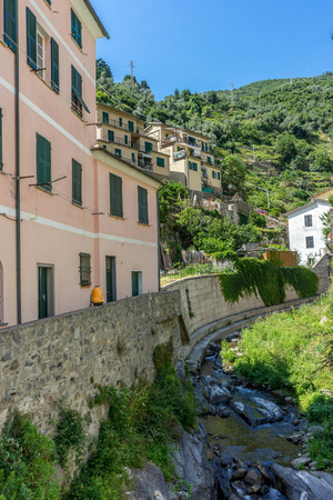 Castle on the side of a building, Vernazza, Cinque Terre, Italy, Europe.