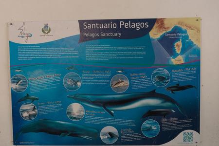 Vernazza, Cinque Terre, Italy - 26 June 2018: Signs pointing to Pelago Sanctuary, Cinque Terre, Italy