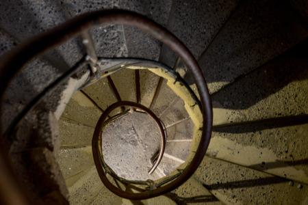 View down a circular staircase