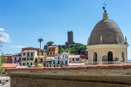Vernazza, Cinque Terre, Italy - 26 June 2018: Santa Margherita di Antiochia Church at Vernazza, Cinque Terre, Italy