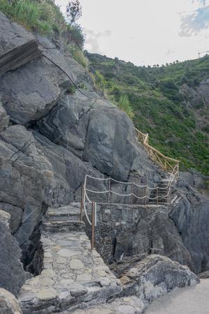 Europe, Italy, Cinque Terre,Riomaggiore, a close up of a rock mountain