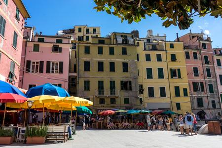 Vernazza, Cinque Terre, Italy - 26 June 2018: Tourists walking down the streets of Vernazza, Cinque Terre, Italy