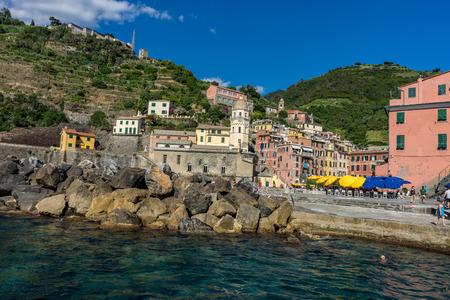 Vernazza, Cinque Terre, Italy - 26 June 2018: The townscape and cityscape of Vernazza, Cinque Terre, Italy