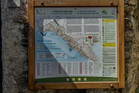 Vernazza, Cinque Terre, Italy - 26 June 2018: Trekking and walking trails of Cinque Terre at Vernazza, Cinque Terre, Italy