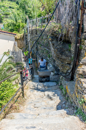Vernazza, Cinque Terre, Italy - 27 June 2018: A farmer on the slopes terrace farming with wheel barrow in Vernazza, Cinque Terre, Italy