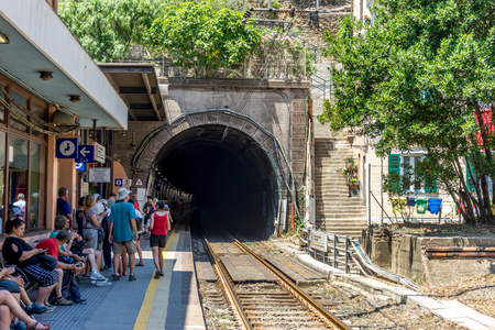 Vernazza, Cinque Terre, Italy - 27 June 2018: The railway station at Vernazza, Cinque Terre, Italy