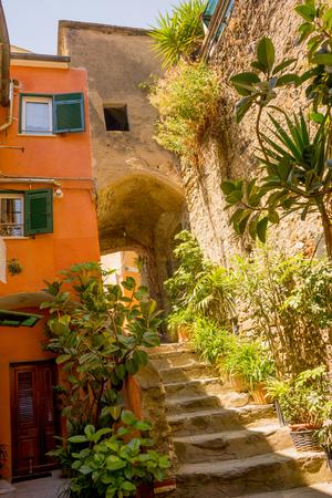 Vernazza, Cinque Terre, Italy - 27 June 2018: The townscape and cityscape of Vernazza, Cinque Terre, Italy