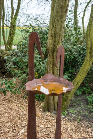 Flower garden, Netherlands, Europe, a chair sitting in front of a forest