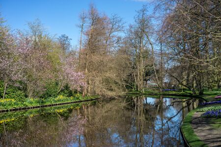 Flower garden, Netherlands, Europe, a body of water surrounded by trees