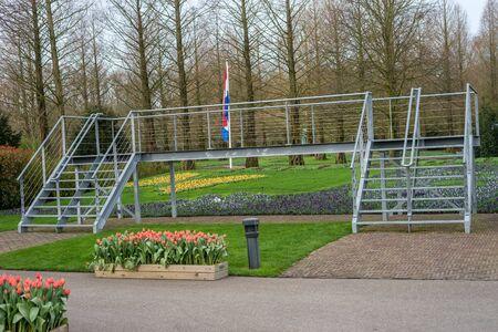 Flower garden, Netherlands, Europe, a close up of a fence 版權商用圖片