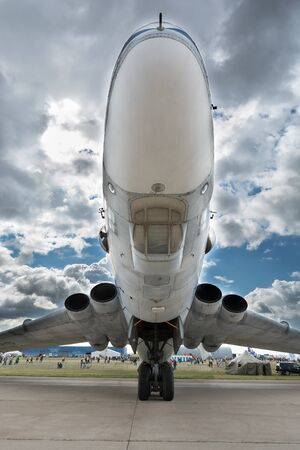 low angle views: Zhukovsky city, Moscow region, Russian Federation - August 30, 2015. Maks 2015 - International Aviation and Space Salon. Atlant VM-T cargo airplane