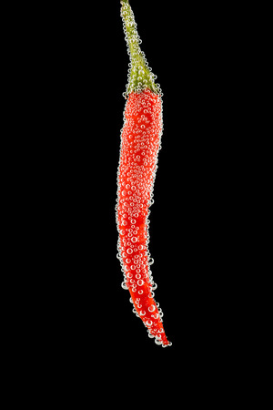 immersed: Red hot chili pepper with small bubbles underwater on black background