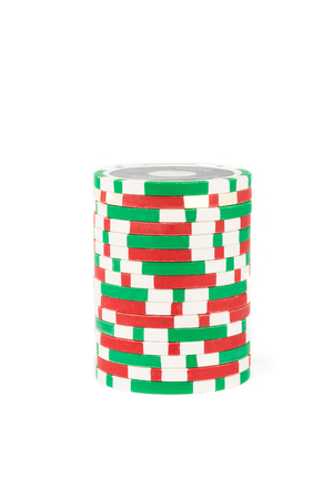 Stack os casino chips. Red and green. Isolated on white background Stock Photo