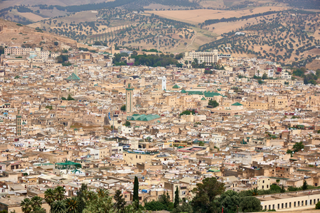 Travel in Fes, Morocco. View of old city. Landscape Фото со стока