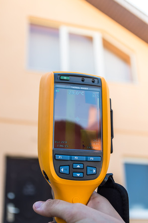 thermogram: Thermo inspection of a house using infrared camera