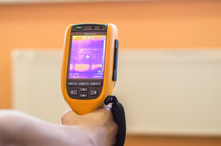 thermogram: Thermo inspection of a radiator at house room