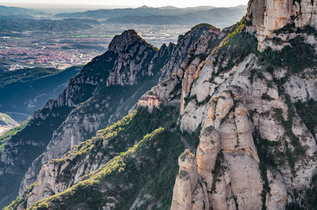 benedictine: Montserrat mountains, beautiful Benedictine Abbey high up near Barcelona, Spain