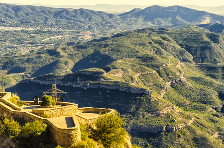 discovering: Discovering mountains of montserrat from top, Spain