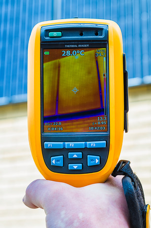 thermal imaging: Thermal imaging inspection of solar panels with thermal camera Stock Photo