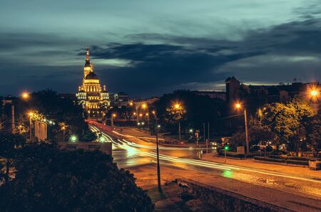 kharkov: Cathedral Blagoveschensky  illuminated at night in Kharkov, Ukraine Stock Photo