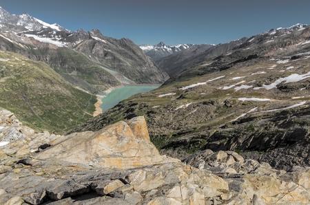 Góry i jeziora od Monte Moro w Alpach Szwajcarii Zdjęcie Seryjne