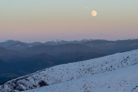 Mountain winter landscape footprints in the snow, Carpatian