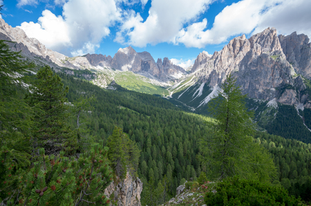 Dolomites - aerial view of Vago di Fassa, Italy, Europe, Dolomites mountains Stock Photo