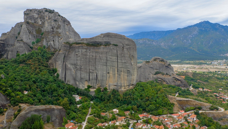 Meteora Rocks with Kalampaka town on the background, Trikala region, Greece