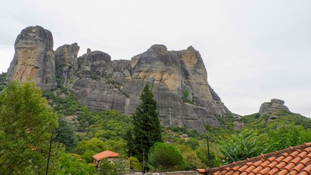 Meteora Rocks and monasteries in Greece, beautiful monasteries on tops of rocks. Kalampaka town