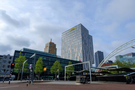 Rotterdam, South Holland, Holland - May 5 2019: Archirecture of the city on the streets and channels, Netherlands 写真素材
