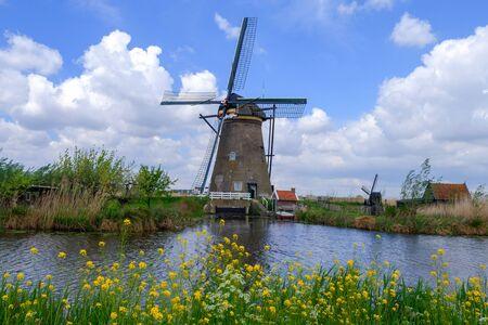 Famous windmill park Kinderdijk in Holland, Netherlands