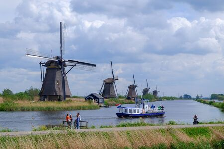 Famous wind mill park Kinderdijk in Holland, spring, Netherlands