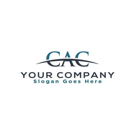 Initial letter CAC, overlapping movement swoosh horizon logo company design inspiration in blue and gray color vector 일러스트