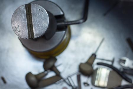 Workplace jeweler in the process of creating jewelry, tools jeweler Stok Fotoğraf
