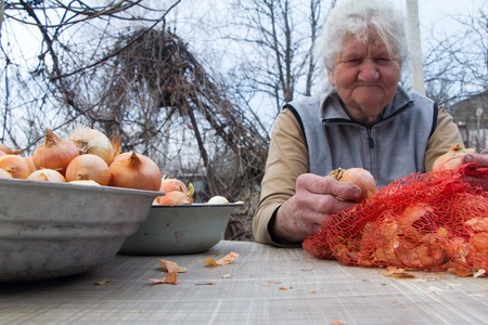 An old woman with gray hair picks up onions before cooking in the kitchen, organic vegetables, her own crop. 写真素材