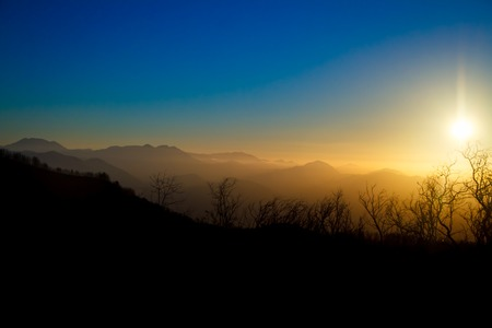 Beautiful multi-colored sunrise in the mountains, a view of the sunrise from the summit of Vesuvius Stock fotó