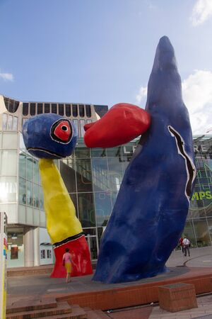 Paris, France - July 10, 2018: Art object on the main street of the business district La Defense in Paris 新闻类图片