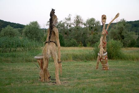 The figure of straw, the traditional decoration of the Slavic summer holiday, copyspace