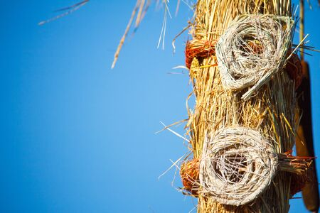 Close-up of the parts straw figure, the traditional decoration of the Slavic summer holiday
