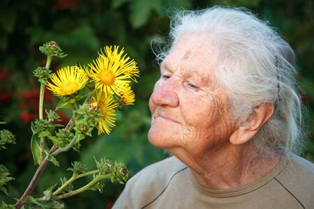 Closeup portrait of an old woman with gray hair smiling and sniffing a big yellow flower, face in deep wrinkles, selective focus