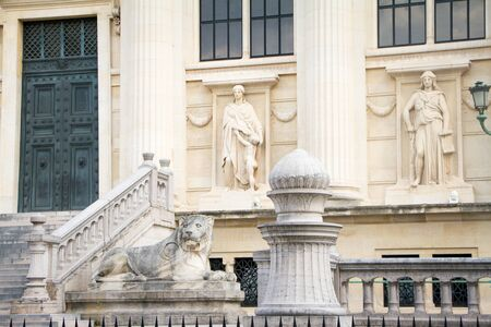 Architectural composition at the main entrance to Palais de Justice in Paris Stock Photo