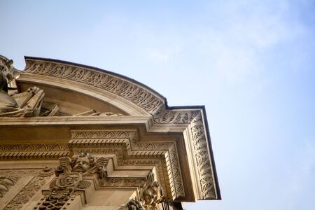 Bottom view of the architectural details of Fountain of San Michel in the Latin Quarter of Paris