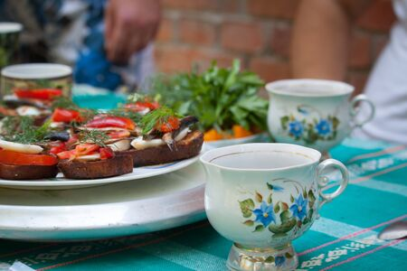Outdoor picnic, sandwiches with eggs, tomato, sprats and teacups, selective focus