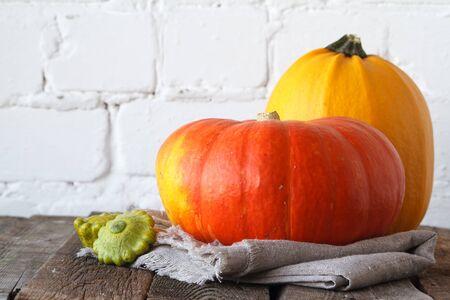 Close-up autumn pumpkins on thanksgiving table, white brick backdrop, selective focus Stock Photo
