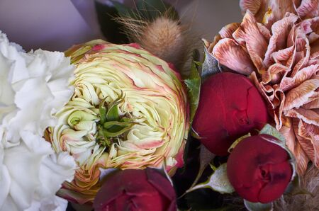 Close up of bouquet details decorated in vintage style on a dark background, selective focus