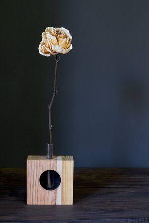 Beautiful beige dry rose in wooden vase on a dark background, selective focus Reklamní fotografie