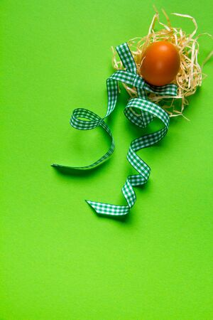 Brown chicken egg in straw nest and green checkered ribbon, minimalistic easter background or concept