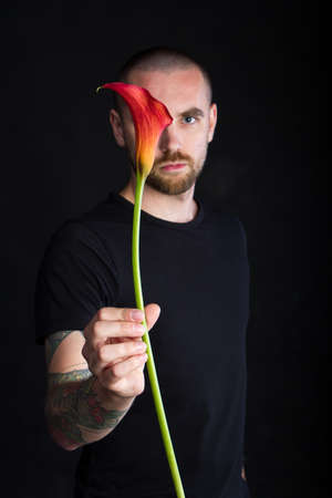 Portrait of young man holding single red calla flower on black background, greeting card or concept Stok Fotoğraf