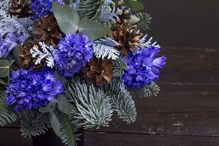 Detail close up winter bouquet of Nobil fir twigs, blue hyacinths and cones, winter gift concept